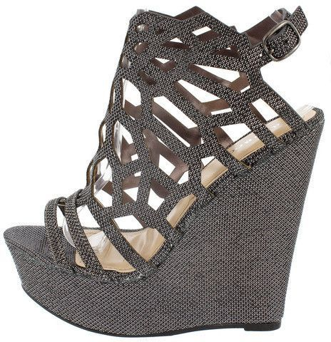 ELIZA67 PEWTER CUT OUT CAGED PEEP TOE WEDGE