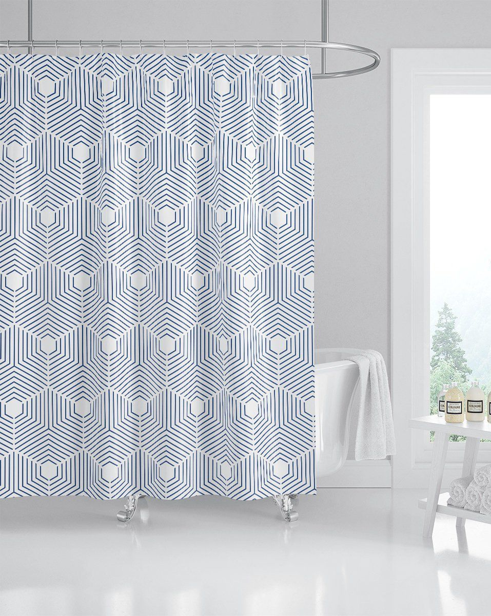 Indigo Geometric Pattern Shower Curtain