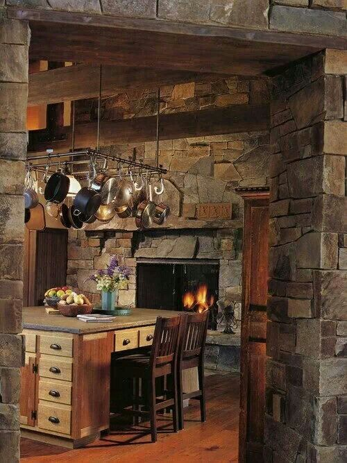 Cozy Kitchens With Fireplaces Rustic House Kitchen Fireplace