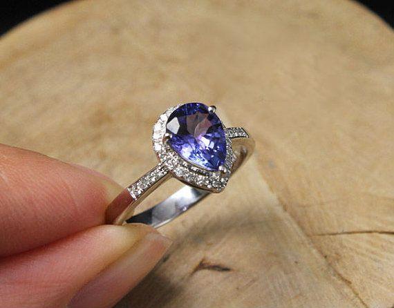 1 5 Carat Tanzanite Engagement Ring Diamonds 14k White Gold