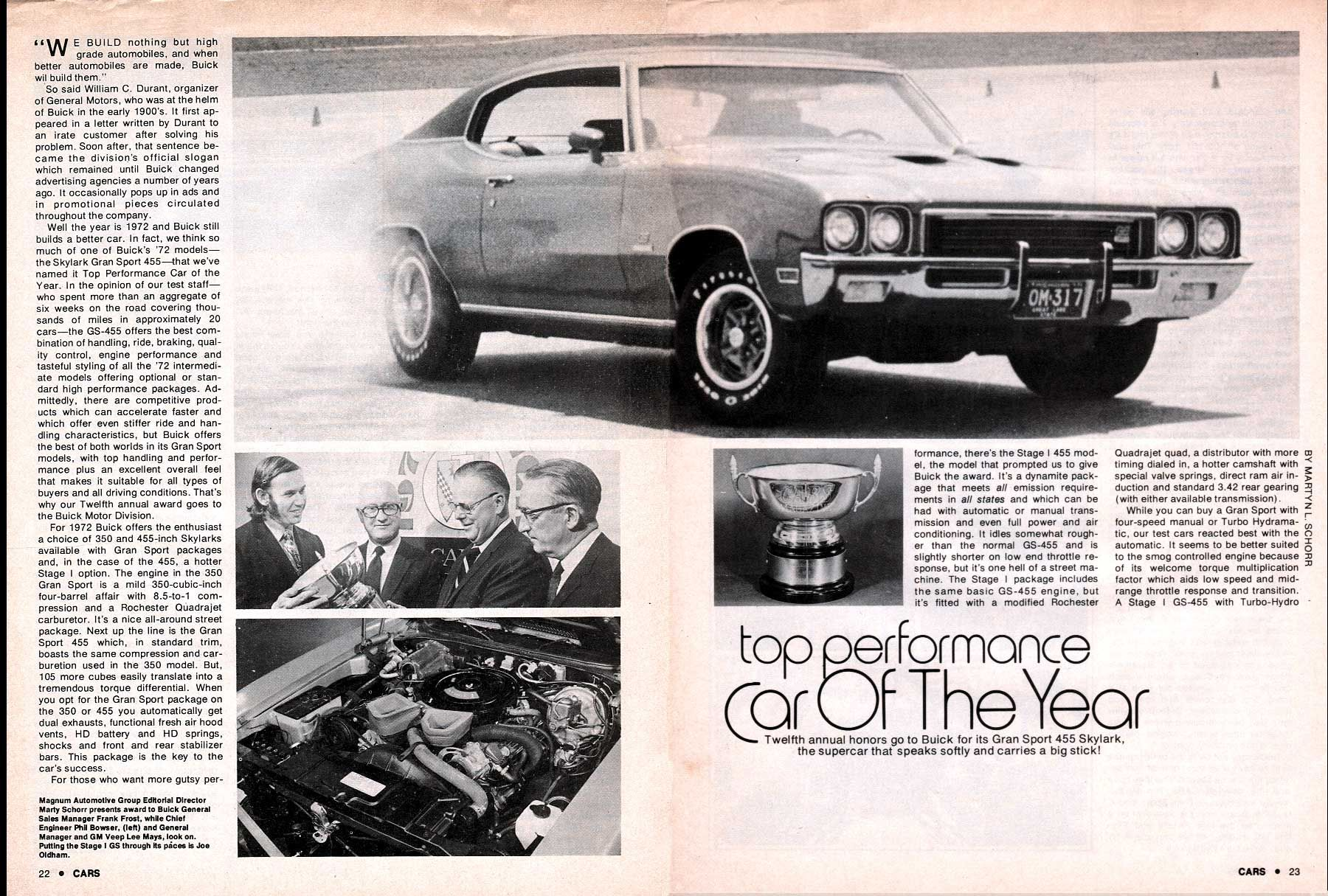 """1972 buick gs 455 stage 1 - """"car of the year"""" - article"""