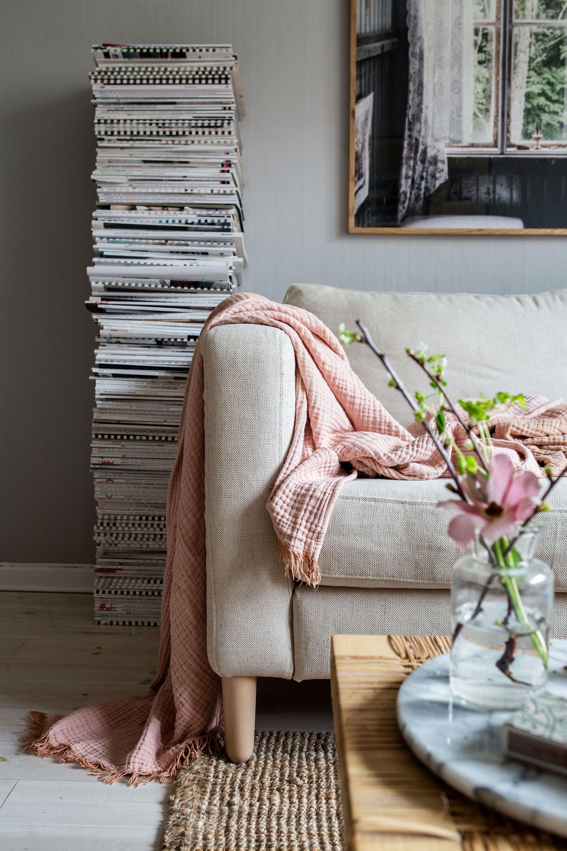 this eclectic scandinavian boho living room belonging to