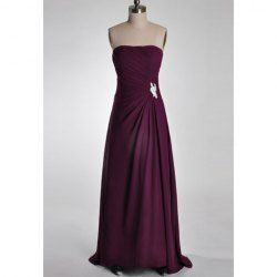 $125.35 Elegant Strapless Rhinestoned and Ruche Design Backless Chiffon Mother of The Bride Dress just beautiful