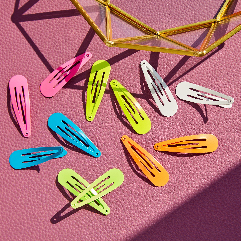 Neon Rainbow Snap Hair Clips 12 Pack Hair Clips Neon Rainbow Hair