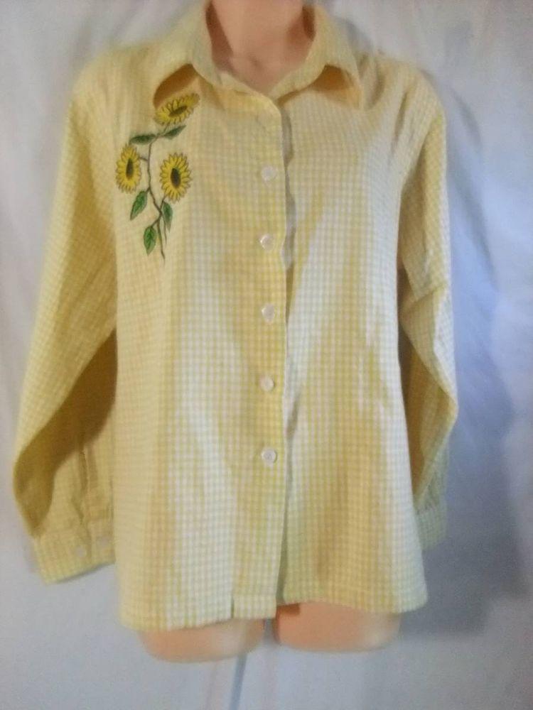 Womens XL yellow white check daisy Long sleeve button up  #National #ButtonDownShirt #Casual