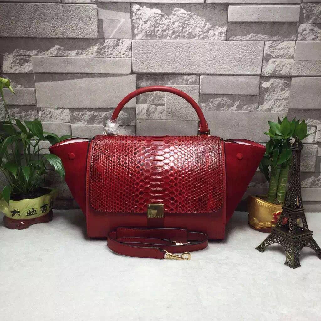 Celine Calfskin and Python Medium Trapezre Tote Bag Red  36af856d92f34
