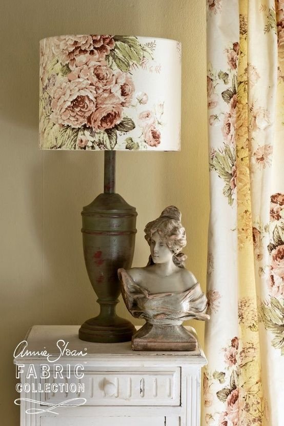 Love How The Annie Sloan Drapery Fabric Was Also Made Into A Matching Lamp Shade Decor Chic Bedroom Design Annie Sloan