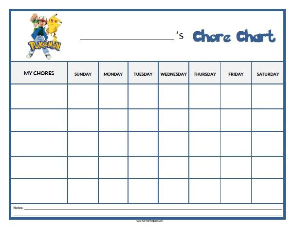 picture about Pokemon Card Checklist Printable referred to as Cost-free Printable Pokemon Chore Chart Main charts Printable