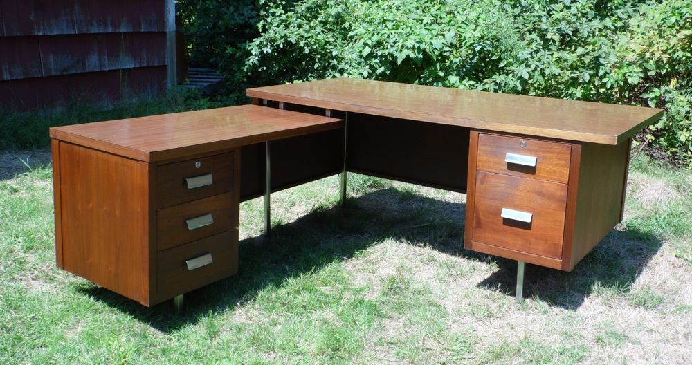 Vintage Mid Century Modern Executive Desk L Shaped Office Desk Jens Risom Era Midcenturymod Modern Executive Desk L Shaped Office Desk Mid Century Modern Desk