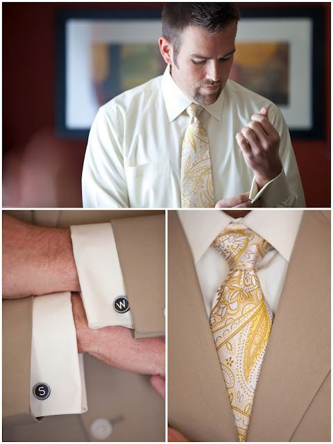 Groom accessories (photo by JoPhoto) #weddings  I could get cuff links with our initials! Or LOGO!!