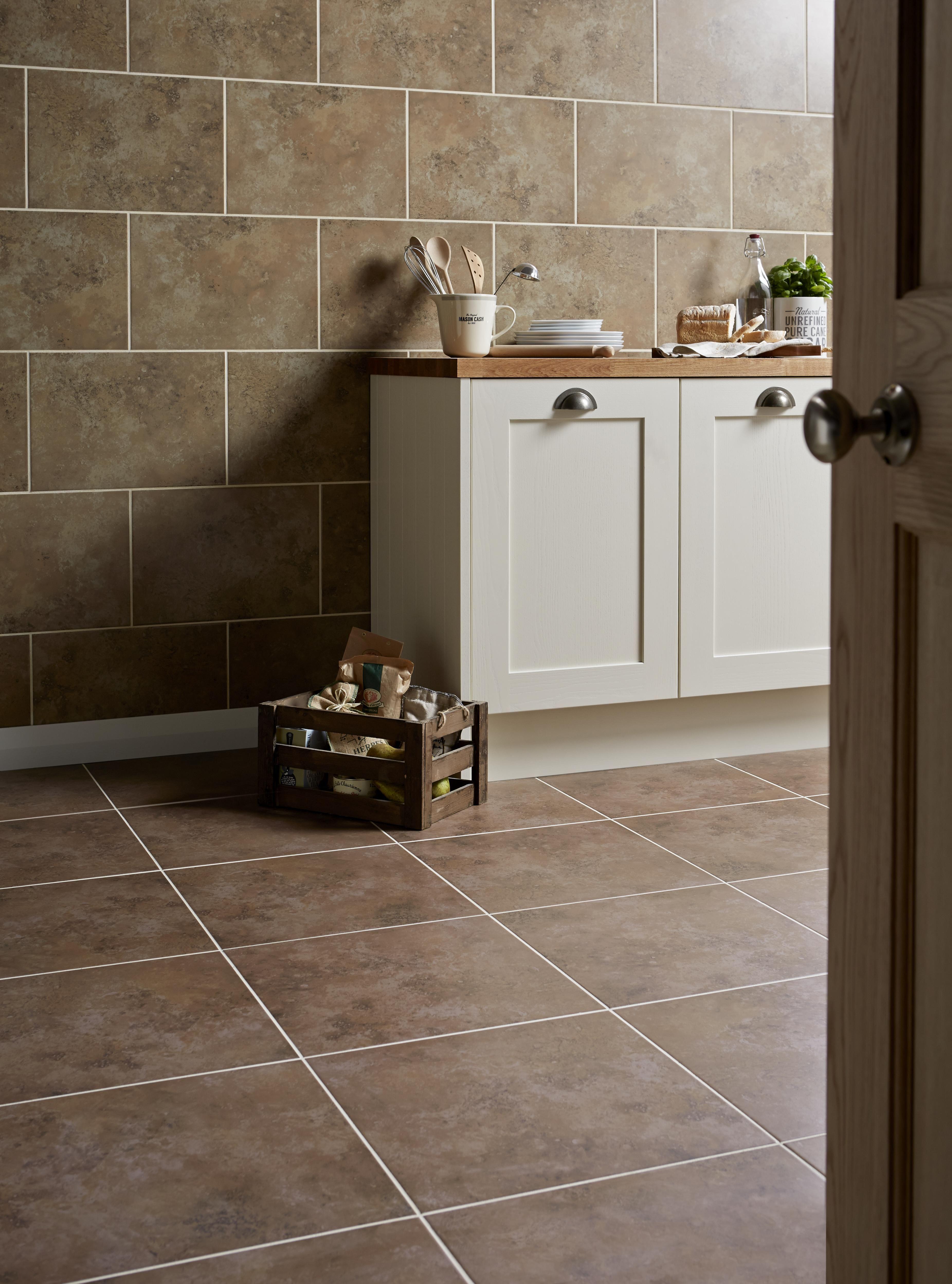 castle travertine chocolate ceramic wall & floor tile, pack of 5