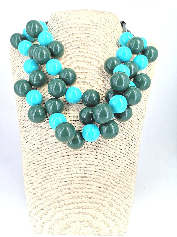 Collana Turchese di Perle da Donna Estiva Resina Fredda Elegante Moda Glamour