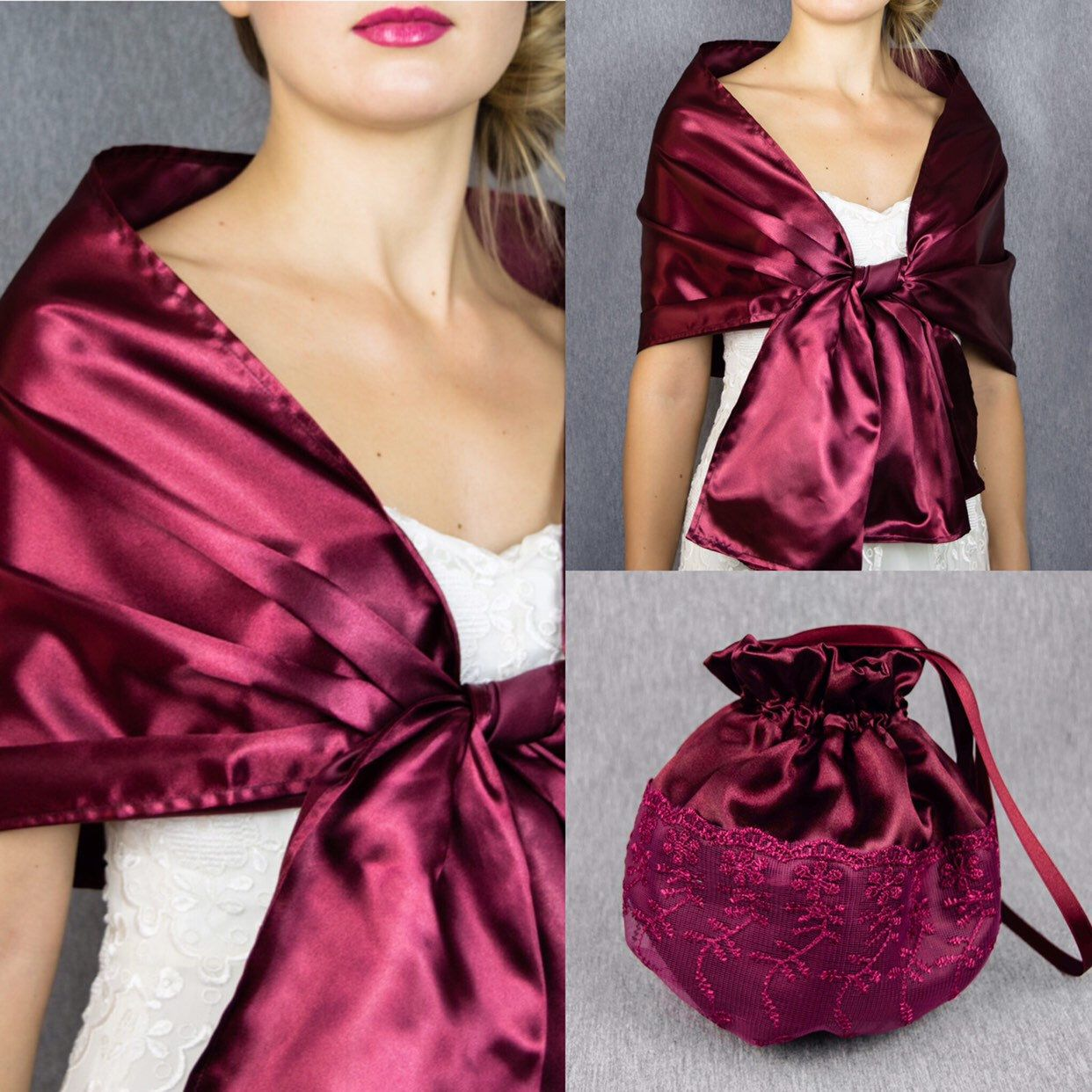 detailed pictures acdd8 d9e31 Satin wrap and matching bag satin shawl bolero wedding shrug ...