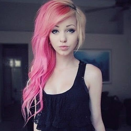 Pink And Blonde Long Asymmetrical Haircut In 2019 Long