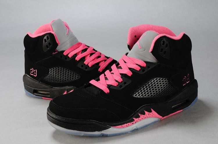 Wholesale Discount Women Air Jordan 5 Black Pink Silver For Sale