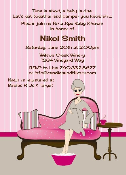 Spa Mom Pink and Brown Baby Shower Invitations