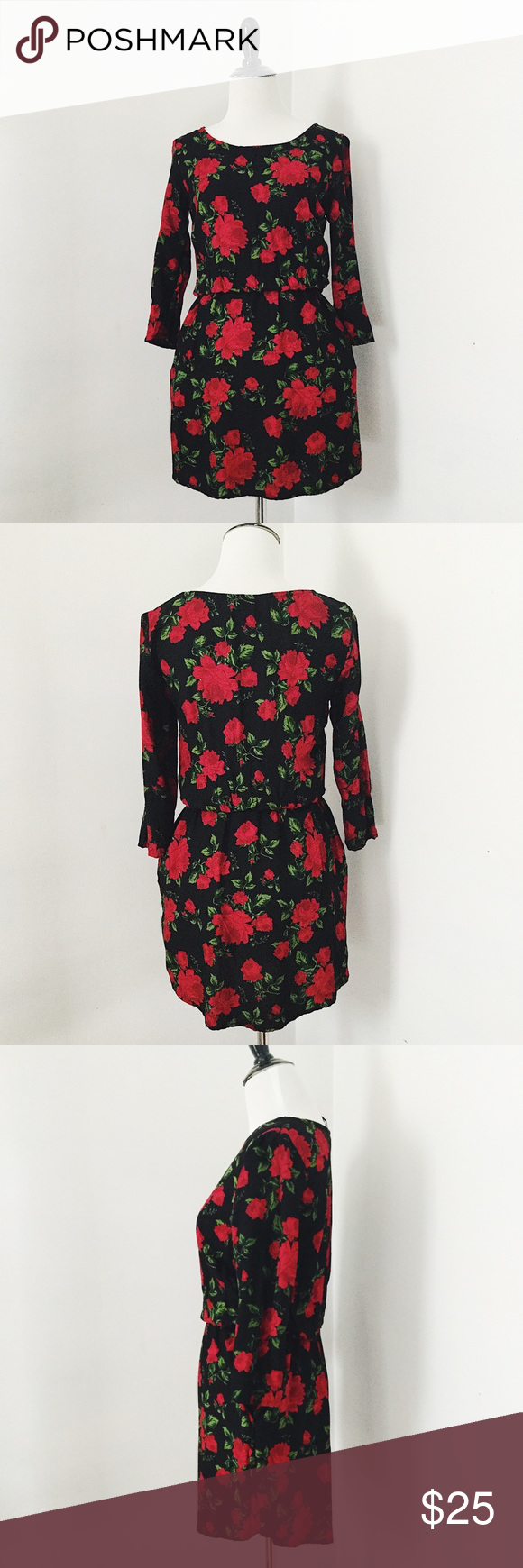 Hum black floral mini dress