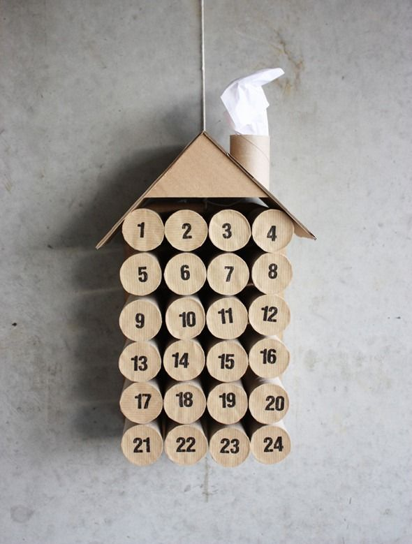 Adventskalender Klorollen Selber Basteln Wand Haus Form Christmas
