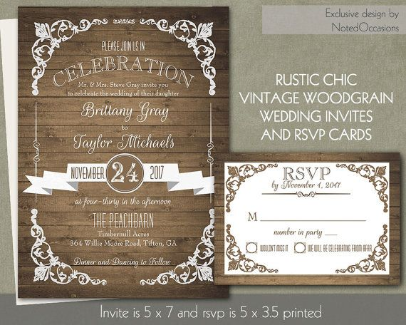 rustic chic barn wood wedding invitation country chic banners with trendy fonts diy digital printable - Country Rustic Wedding Invitations