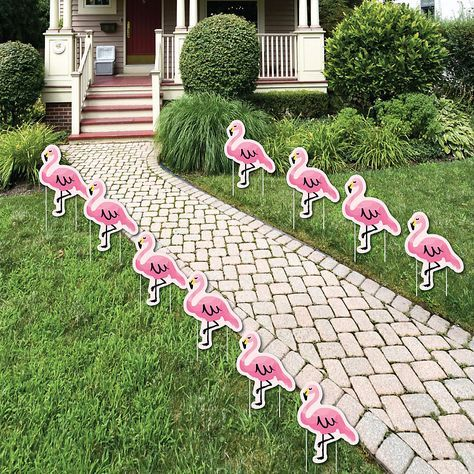 Pink Flamingo Lawn Decorations Tropical Summer Outdoor 400 x 300