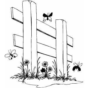 Fence And Butterflies Baby Coloring page Pinterest
