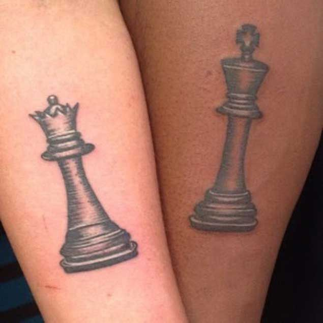40 king queen tattoos that will instantly make your relationship rh pinterest co uk queen chess piece tattoo on finger queen chess piece tattoo ideas