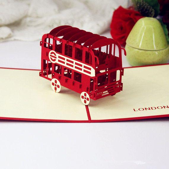 London Bus Pop Up Card 3d England Greeting Card Pop Up Cards Cards Handmade Christmas Gift Card