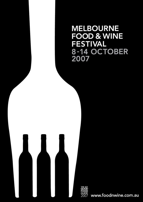 I like the use of the white space between the forks teeth being wine bottles represents the event very well