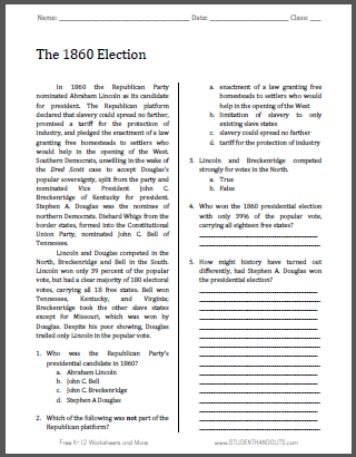 Printables 9th Grade Social Studies Worksheets the 1860 election free printable american history reading with questions for grades 9 12