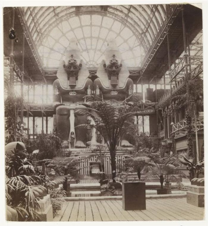 Egyptian Court inside the Crystal Palace, London. Early