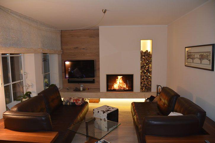 Moderne Wohnzimmer Heizkamin Mit Frontscheibe Und Indirekter Beleuchtung Moderner Ofen