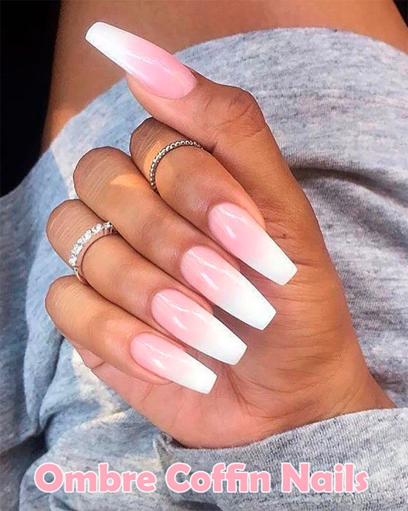 120 Best Coffin Nails Ideas That Suit Everyone Pink Nails Coffin Nails Designs Ombre Acrylic Nails