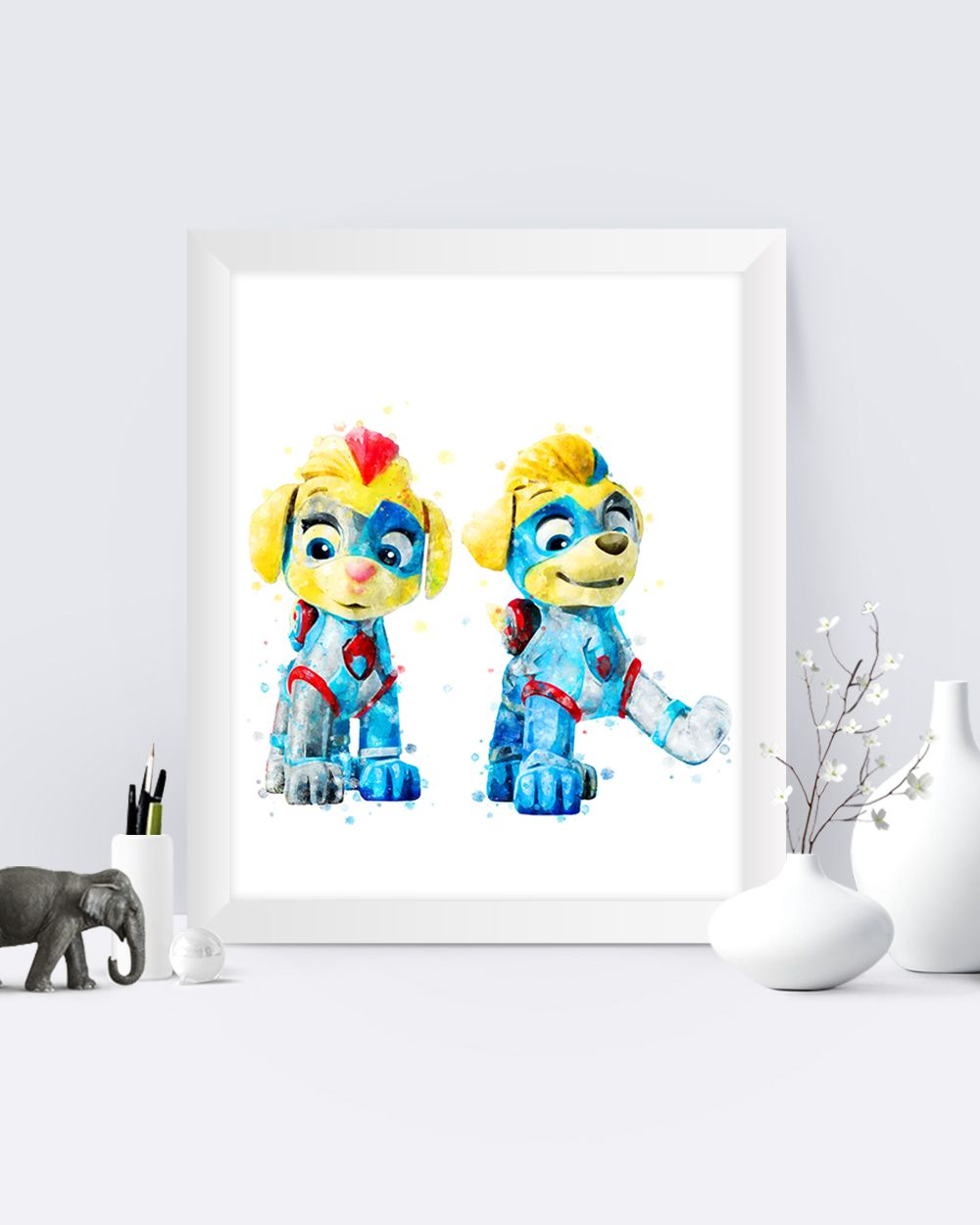 Paw Patrol Print Mighty Pups Tuck And Ella Printable Poster Tuck And Ella Watercolor Paw Patrol Painting Kids Room Decor In 2020 Painting For Kids Kids Room Paint Kid Room Decor
