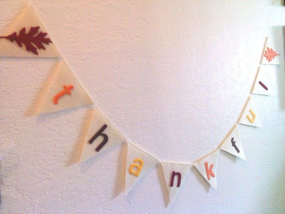 Thanksgiving Banner Thankful Banner Fall Pennant by heartFeltbyA, $10.00