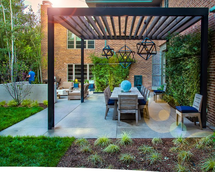 Steel pergola with wood beams by elevate by design outdoor wood beams