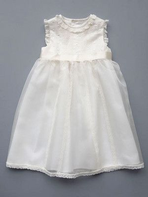 95269a5b4 Luli & Me Silk Organza dress with ivory lace trim. Simple, classic, and  beautiful