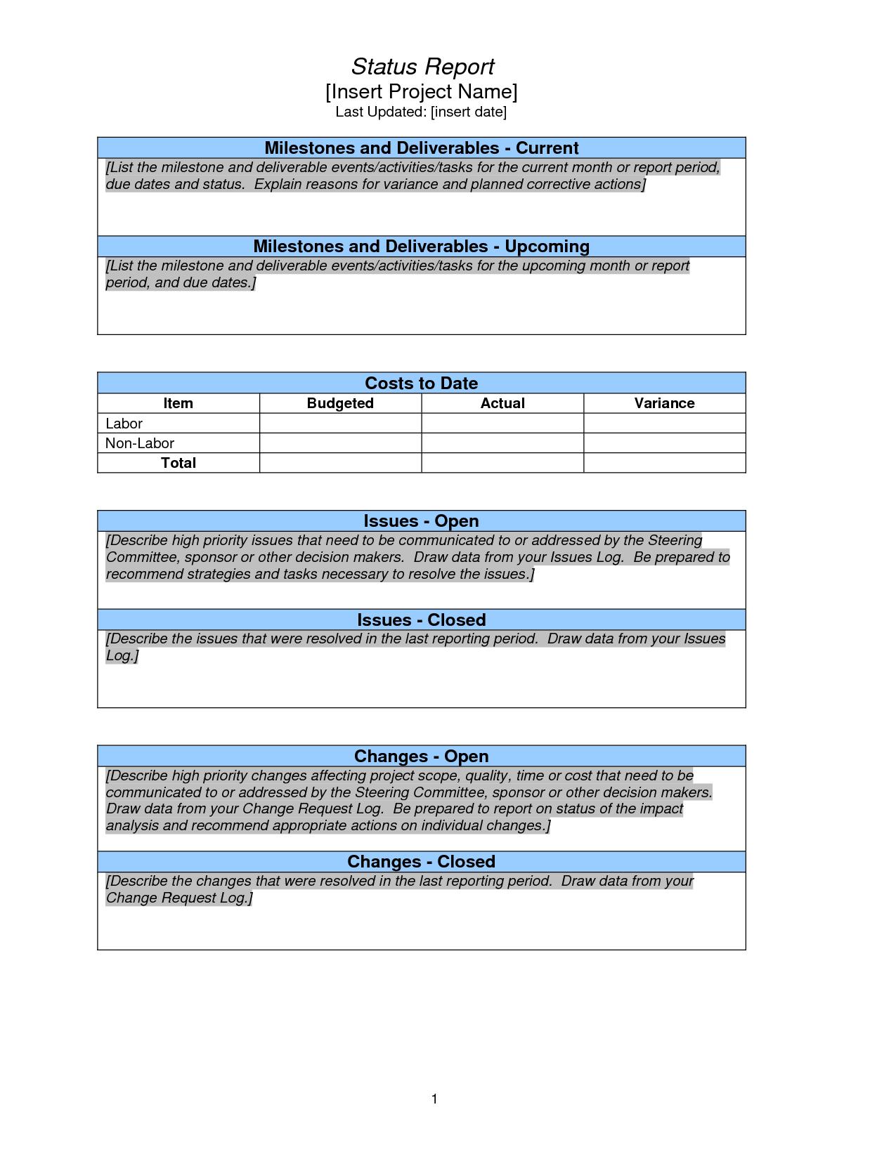 Project Status Report Sample