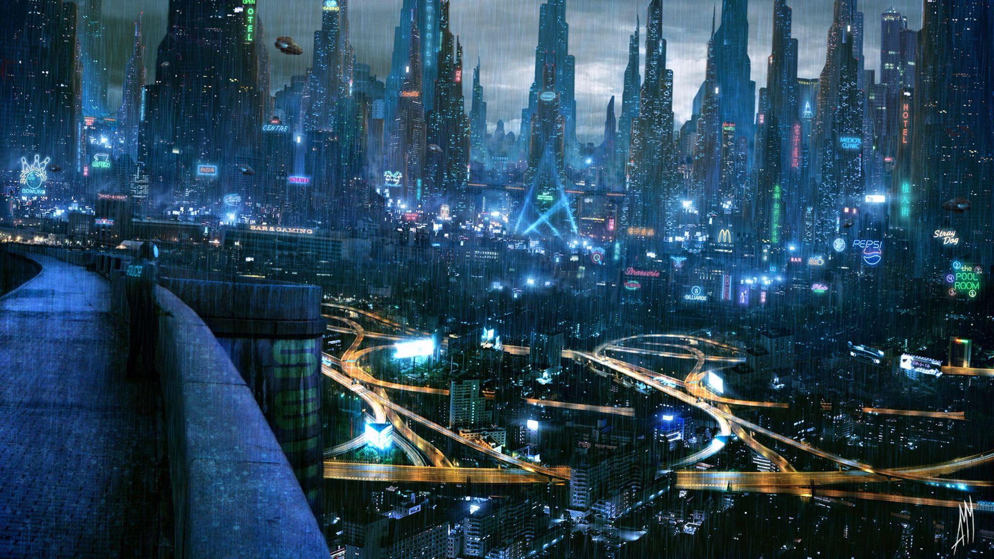 2K future city wallpaper Cidade cyberpunk, Cidade de