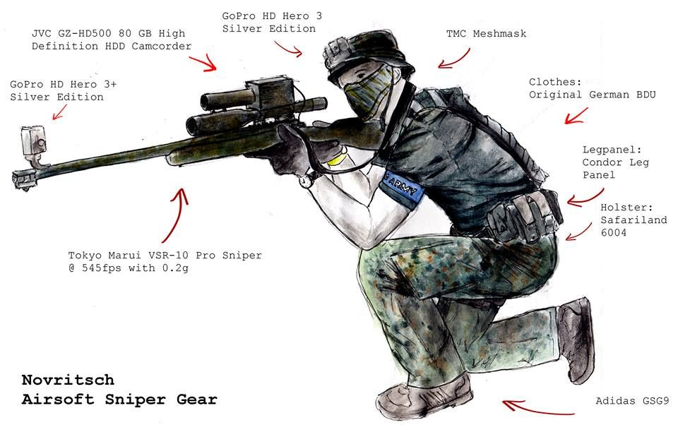 Airsoft sniper loadout for filming action