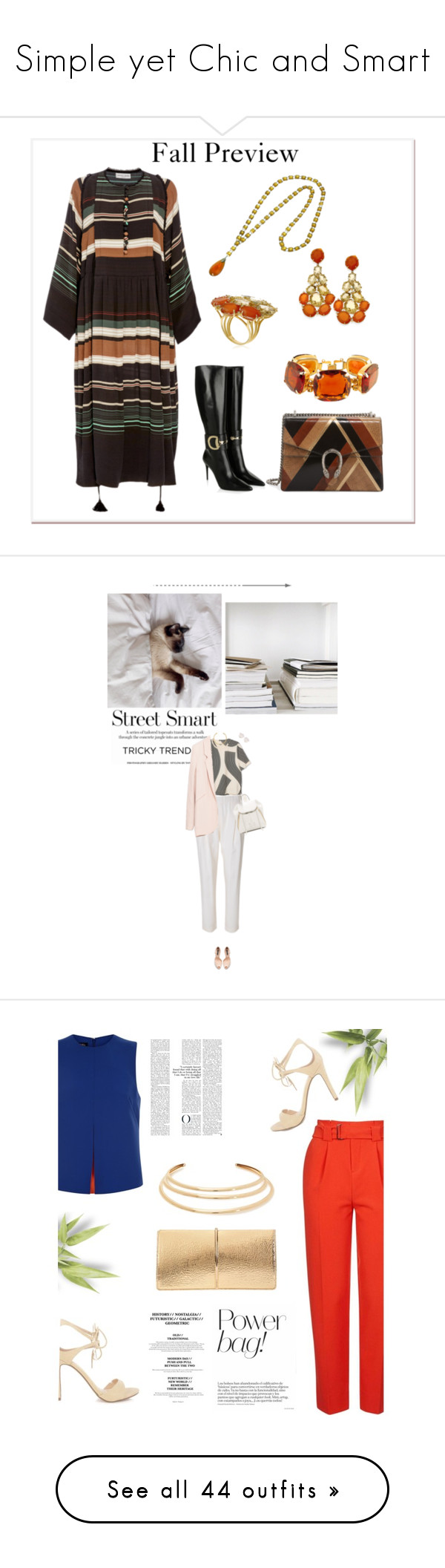 """""""Simple yet Chic and Smart"""" by fashionholicwriter ❤ liked on Polyvore featuring Gucci, Apiece Apart, 3.1 Phillip Lim, Zara, OBEY Clothing, Rebecca Minkoff, Christian Dior, Topshop, Jaeger and Nina Ricci"""