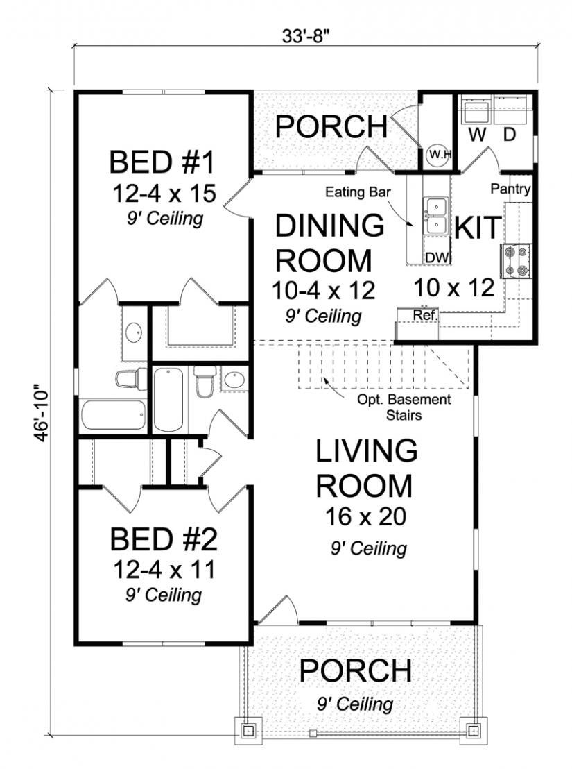 656296 2 Bedroom 2 Bath Traditional Cottage With Open Floor Plan And All Walk In Closets Starter Home Plans Cottage House Plans Cottage Style House Plans