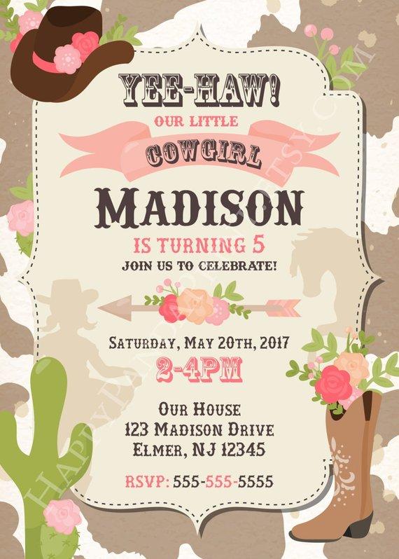 Cowgirl Invitation Birthday Party Western Invite Cow Pri