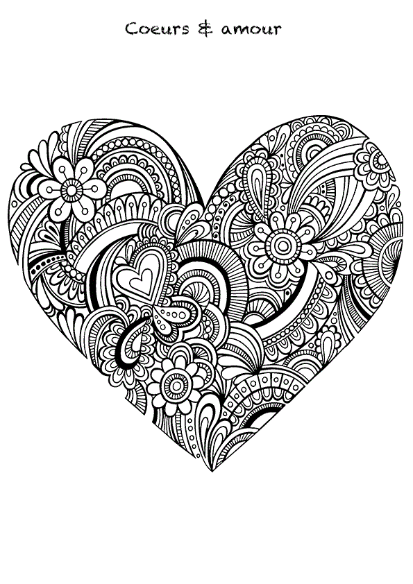heart coloring page. Floral zentangle heart colouring page for adults Free Coloring pages printables  Mandala Doodles and Adult coloring