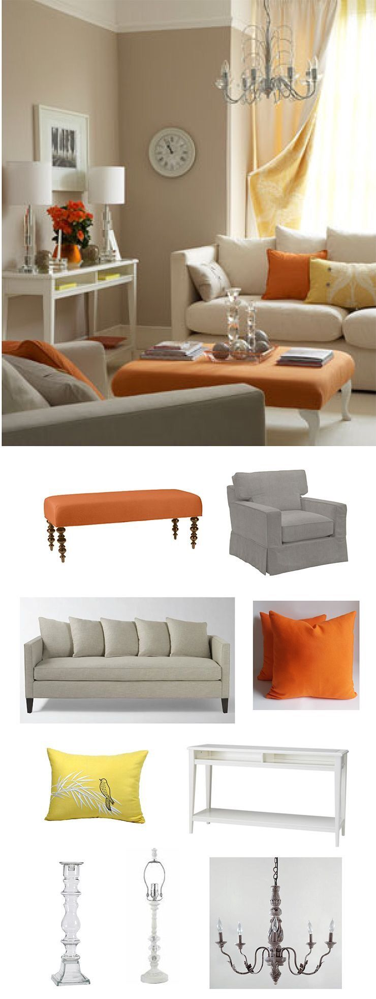 Love the orange yellow scheme in 2019 living room - Living room color schemes grey couch ...