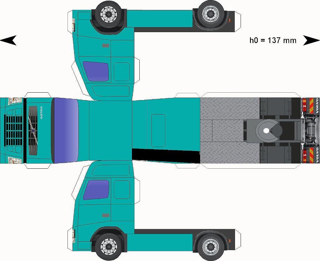 Free Download Paper Model Trucks Volvo Zeegroen Volvo Modeltrein Papieren Modellen
