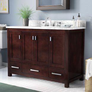 48 In Distressed Bathroom Vanity Base Wayfair Aunt Sandy 39 S Bath Ideas Single Bathroom