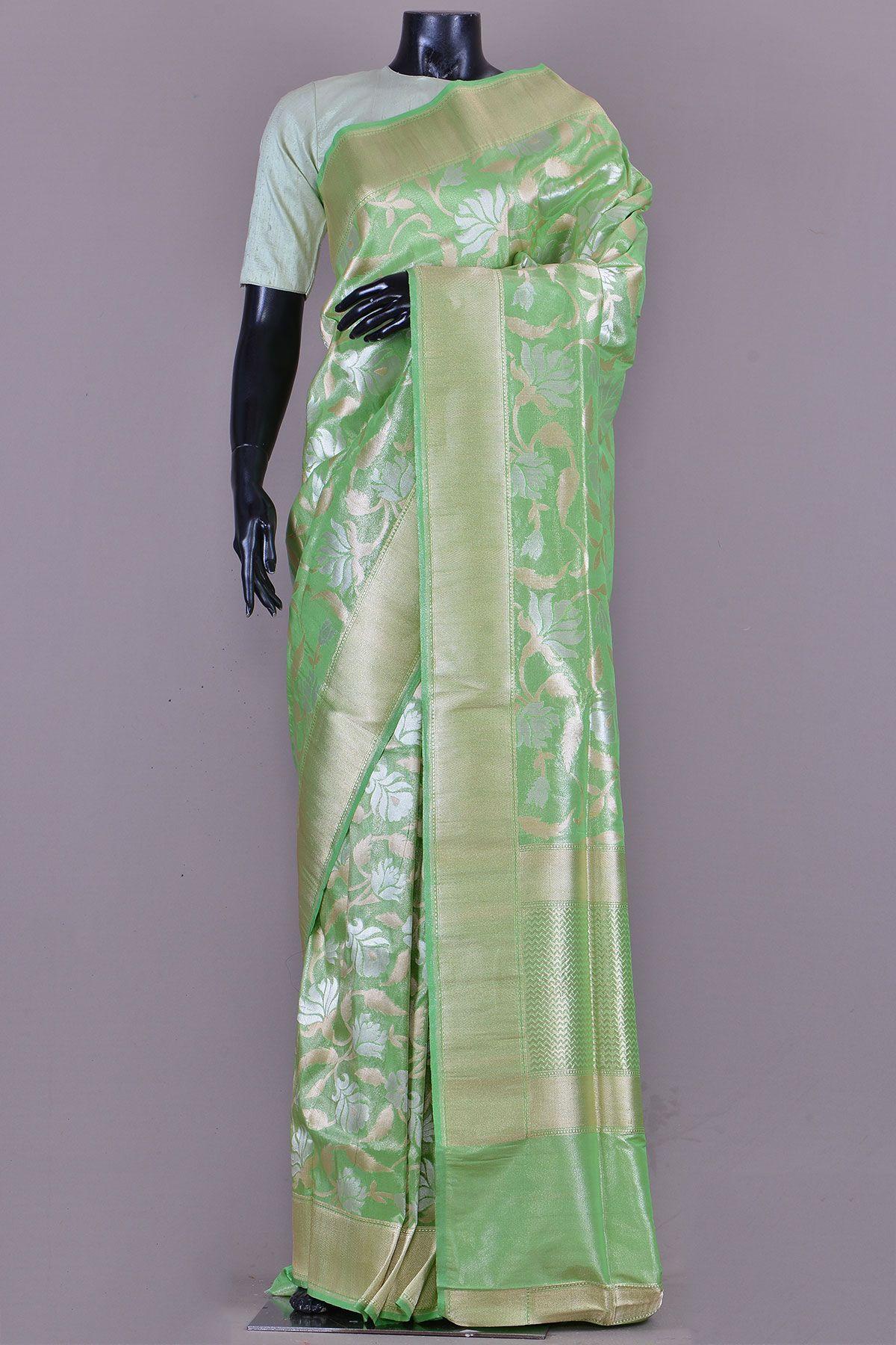 Tissue silk saree spring green zari woven banarasi tissue sareekc  silk sarees