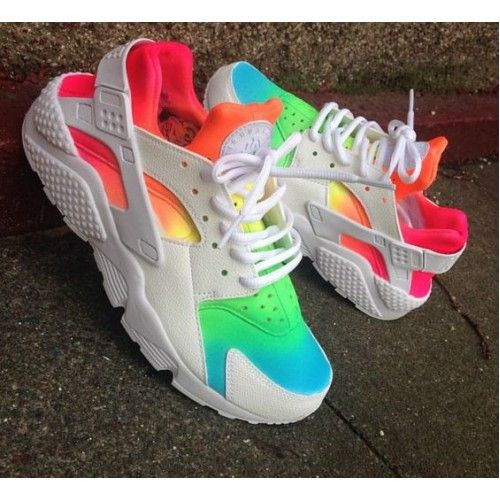 Nike Air Huarache Custom Rainbow Color Womens Shoes   Trainers Online ab1c0ba8d