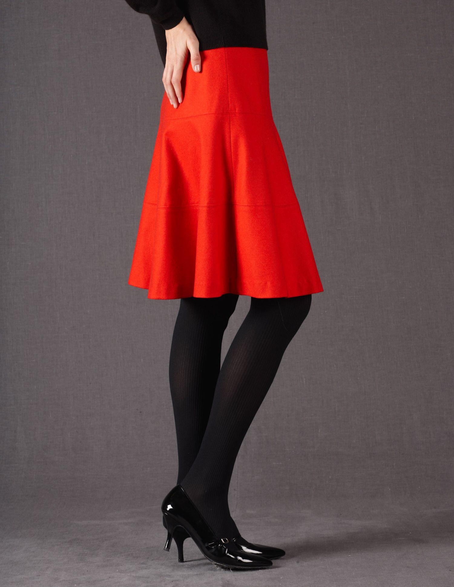 8a567d7f35e53 Red wool skirt. I love it! Boden Uk, Wool Skirts, Winter Looks