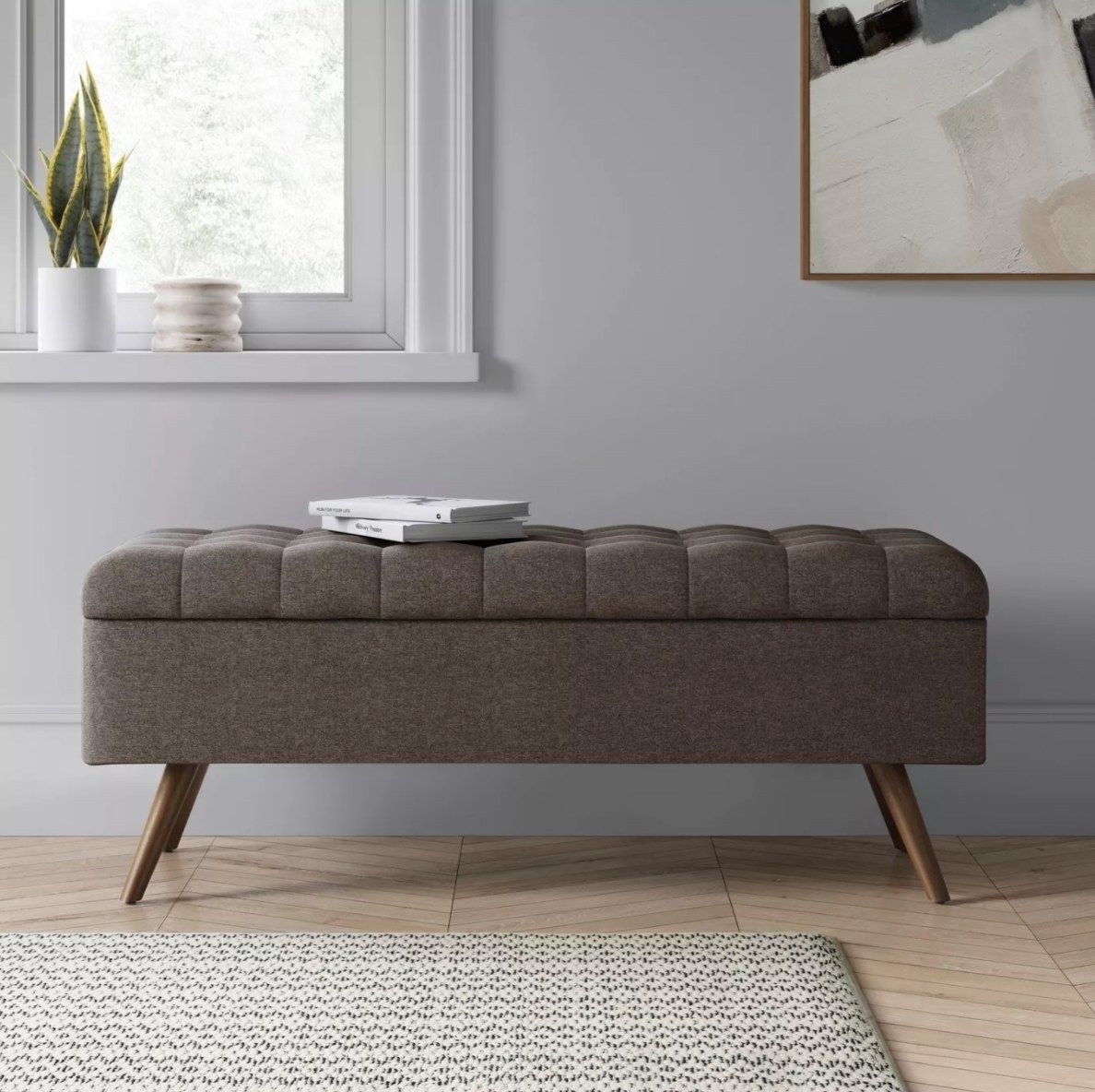 A Tufted Storage Bench That Doubles As Seating And A Place To Store Your Blankets Or Whatever Really The Mcm Design Features Eye Catching Wooden Legs And Du In 2020 Tufted Storage